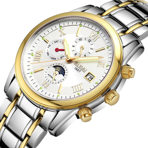 HAIQIN 9001E Gold-Tone Stainless Steel Luminous Mechanical Watch