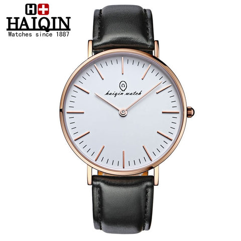 HAIQIN 9018 Quartz Leather Sapphire Crystal Watch