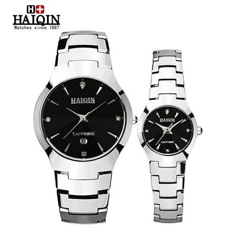 HAIQIN 9020L Pair Quartz Tungsten Steel Watches