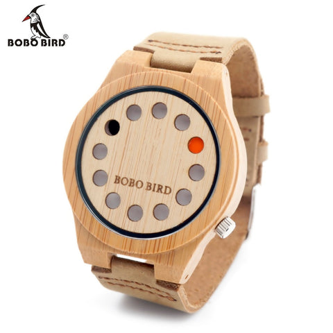 BOBO BIRD 12 Holes Leather Band Wooden Watch