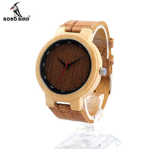 BOBO BIRD D16 Wooden Quartz Leather Band Watch