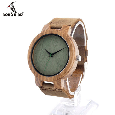BOBO BIRD C18 Brown Leather Band Wooden Watch