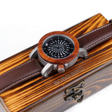 BOBO BIRD M20 Antique Kinetic Art Mechanical Skeleton With Ebony Rosewood Bazel Leather Band Watch