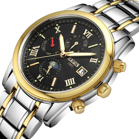 HAIQIN 9001E1 Mechanical Luxury Steel Waterproof Watch