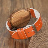 BOBO BIRD Wooden Orange Dial Watch