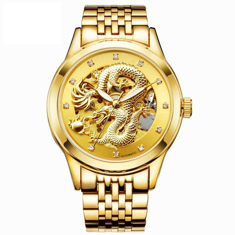 HAIQIN LK579 Luxury 3D Dragon Gold Skeleton Mechanical Luminous Watch