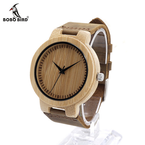 BOBO BIRD Bamboo Wooden Leather Strap Watch