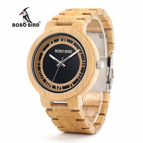 BOBO BIRD Bamboo Wooden Adjustable Watch