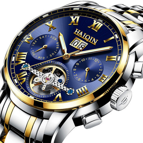 HAIQIN 8508 Luxury Mechanical Steel Waterproof Watch