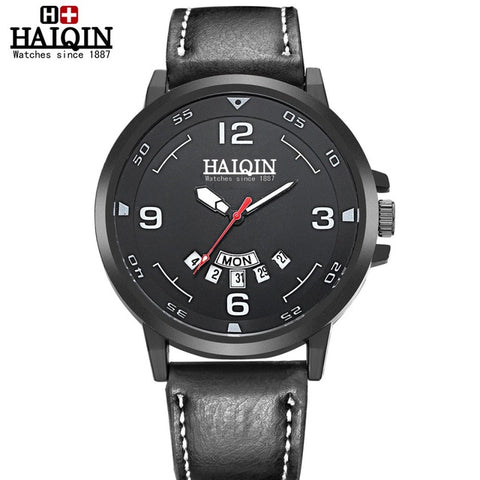 HAIQIN 8960 Sports Quartz Leather Strap Military Waterproof Watch