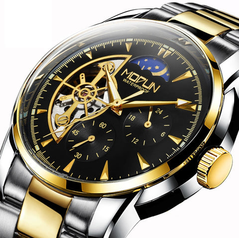 HAIQIN 875 Hollow Stainless Steel Skeleton Mechanical Automatic Watch