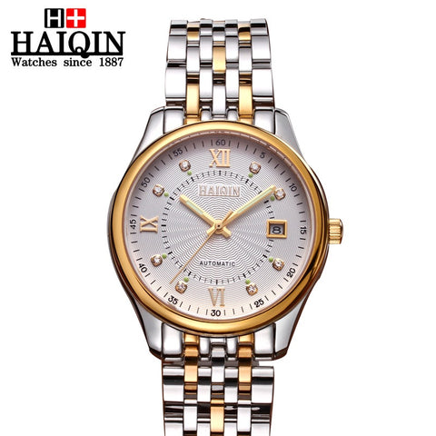 HAIQIN 9002R Luxury Stainless Steel 18k Gold Mechanical Waterproof Watch