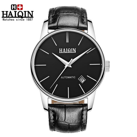 HAIQIN 9009 Luxury Waterproof Automatic Mechanical Leather Watch