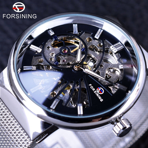 Forsining GMT985 Neutral Design Silver Steel Short Small Dial Mens Luxury Mechanical Skeleton Watch