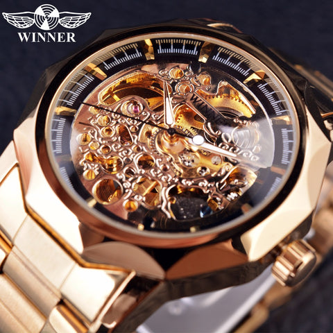 T-Winner GMT850 Royal Carving Series Golden Luxury Stainless Steel Skeleton Luxury Automatic Watch
