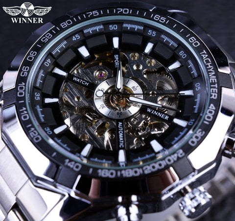 T-Winner GMT101 Sport Skeleton Stainless Steel Automatic Watch