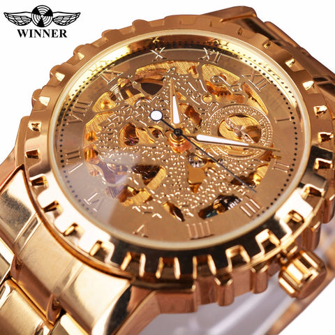 T-Winner GMT882 Gold Skeleton Luxury Automatic Watch