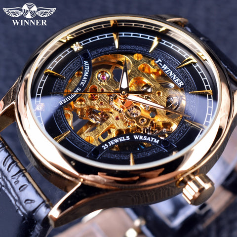 T-Winner GMT945 Golden Star Luxury Mechanical Skeleton Watch