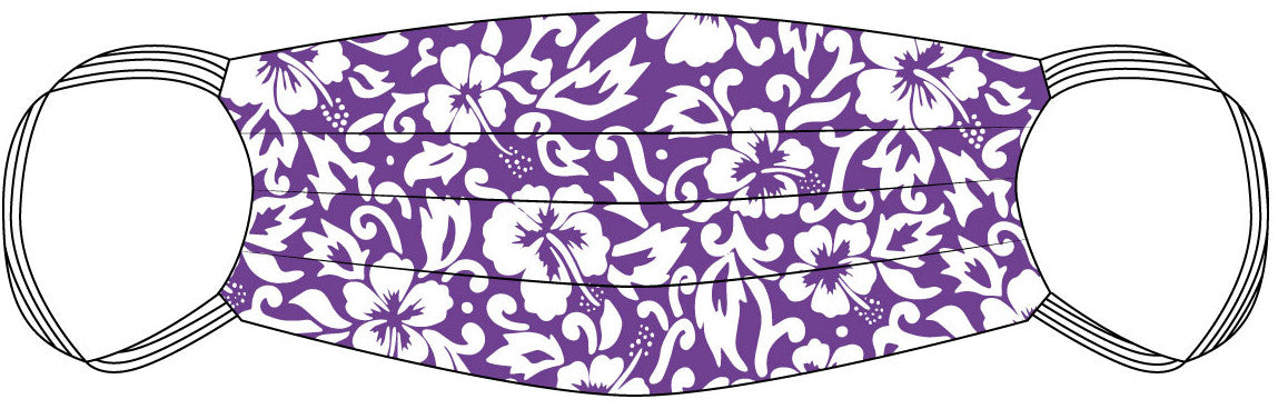 PPE Mask Lavender Hibiscus Aloha - Small
