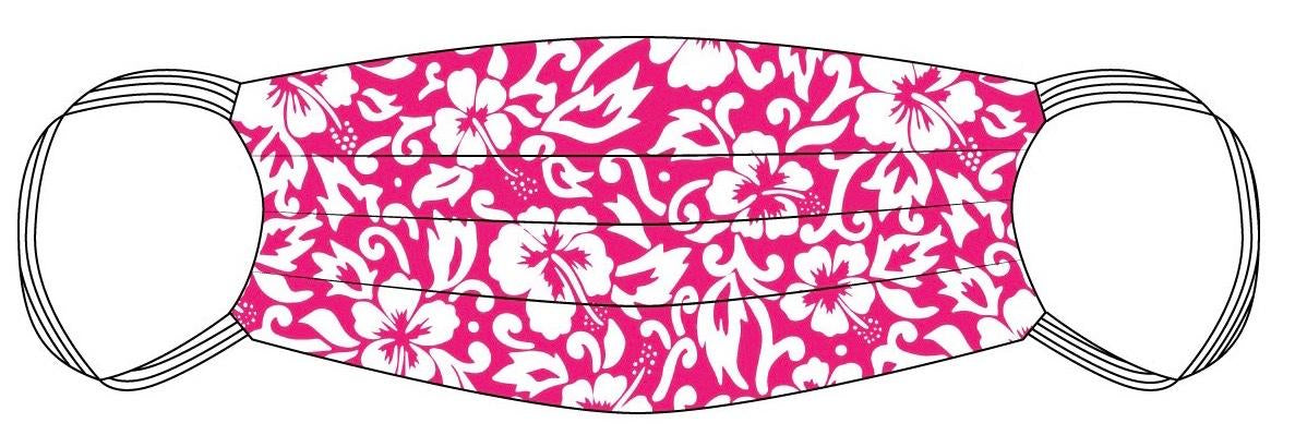 PPE Mask Pink Hibiscus Aloha - Medium