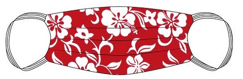 PPE Mask Red Hibiscus Aloha - Medium