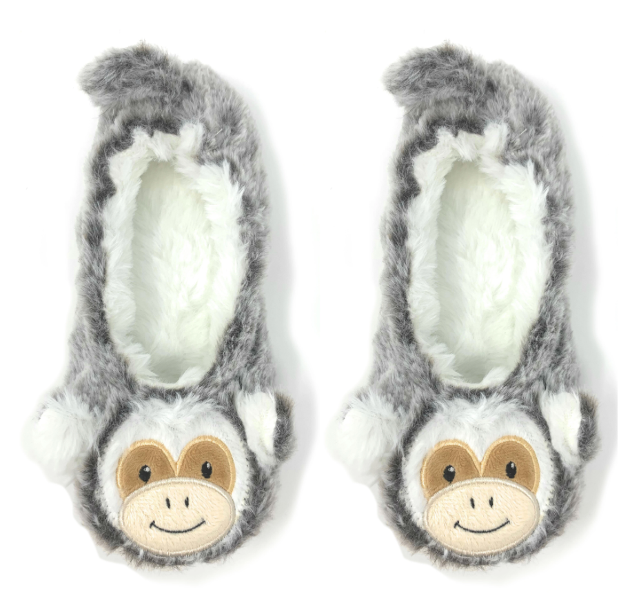Monkey Around-Travel Buddy Plush Slippers - L