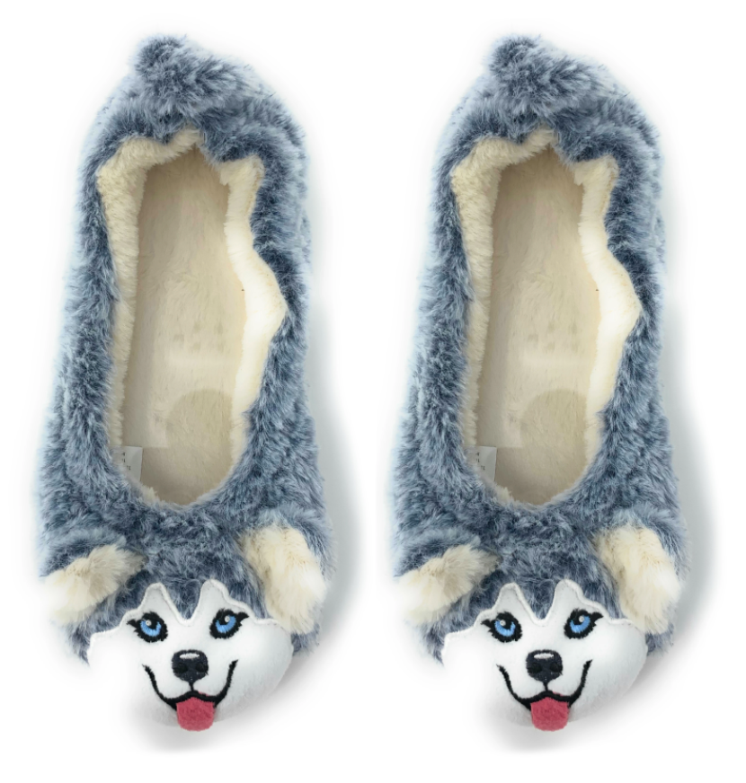 Husky-Travel Buddy Plush Slippers - S