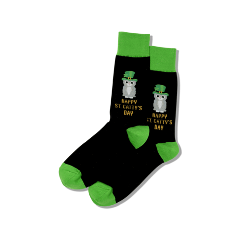 Men's Happy Saint Catty's Day Socks - Black