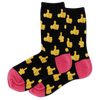 Women's Thumbs Up Crew Socks - Black