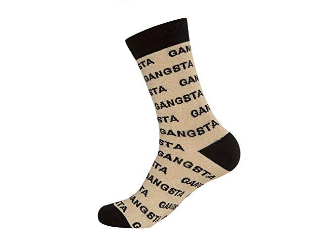 GANGSTA Dress Crew Socks - Metallic Gold/Black