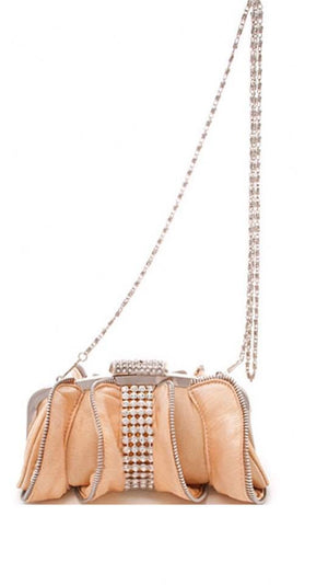 Zipper and Rhinstone Clutch with Chain (HGB-92238)