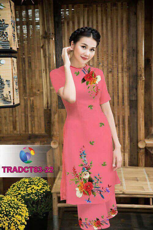 Mordern Aodai With Wide Leg Pants with Big Flower Print