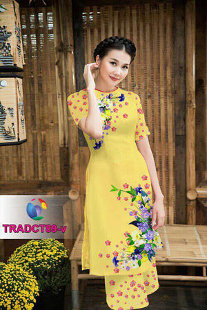Mordern Aodai With Wide Leg Pants Small Flower Print