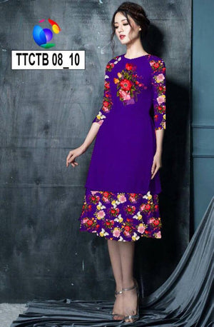 Modern Aodai Dress 2Pieces with Skirt Flower Print