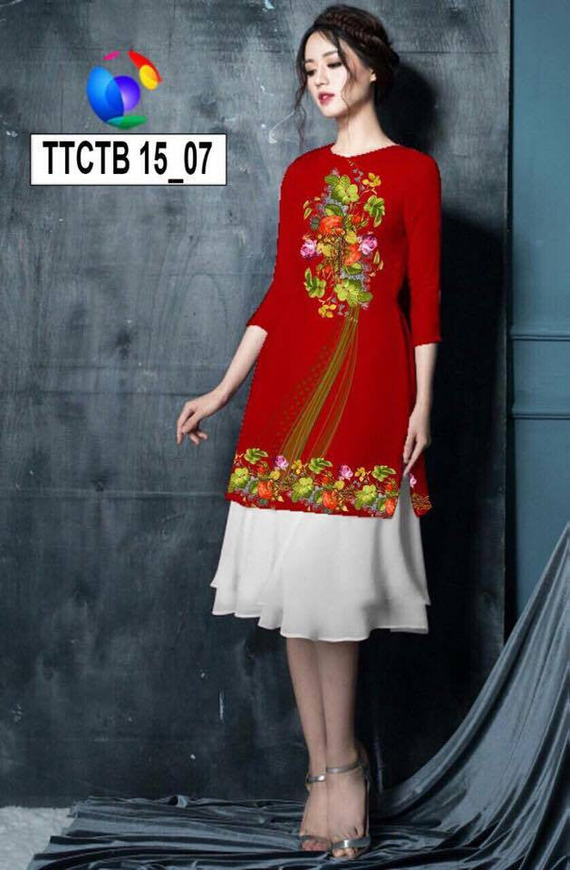 Mordern Aodai with white Skirt