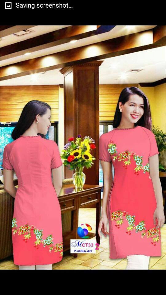 Mordern Aodai (Top only) Flower Print