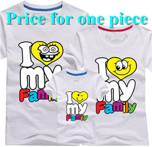 I love my Family T Shirts Summer Family Matching Clothes
