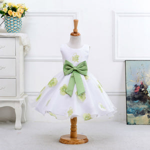 Print flower girl dress for wedding girls party dress with bow for 2-8 Years LM008