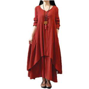 Loose Long Sleeve Dress Solid Long Maxi Dress Plus Size