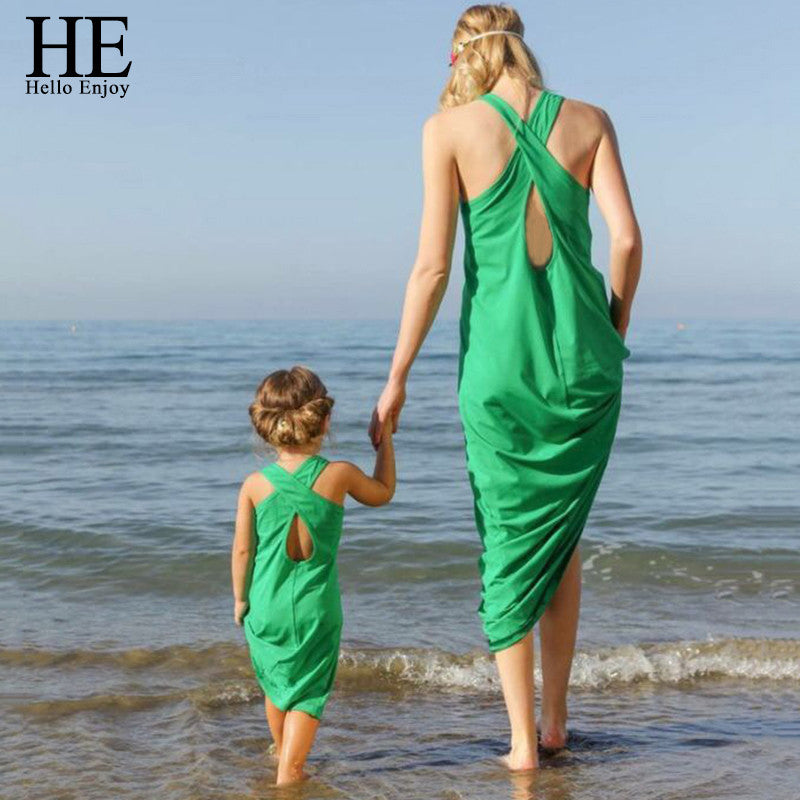 Sleeveless green Sandy beach Dress matching Mom daughter
