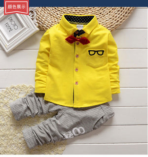 Children Boys Clothes SeBowknot Shirt +Stripe Pants