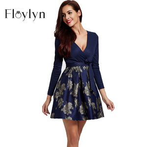 FLOYLYN Long Sleeve Knitting Patchwork Deep V Sexy Women Mini Dress