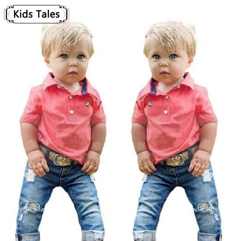 ST244 2017 Boy clothes summer clothing set new cotton T-shirt + jeans denim