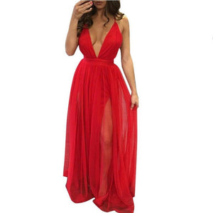 Chiffon Long DressSleeveless Boho  V Neck 4 Colors Split Maxi Dress