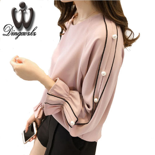Plus size Chiffon shirt  long-sleeved Solid color