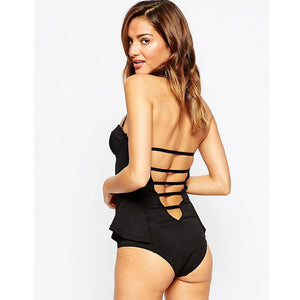 Swimwear Small Pure Black Sexy One Piece Swimsuit bathing suit tankini#EW