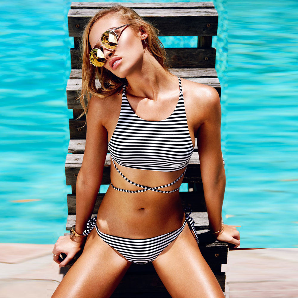 Bikini Women Striped Swimsuit Bandage Cut Out