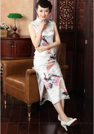 Traditional Chinese Style Red Wedding Qipao Long Bridal Costumes Formal Dress