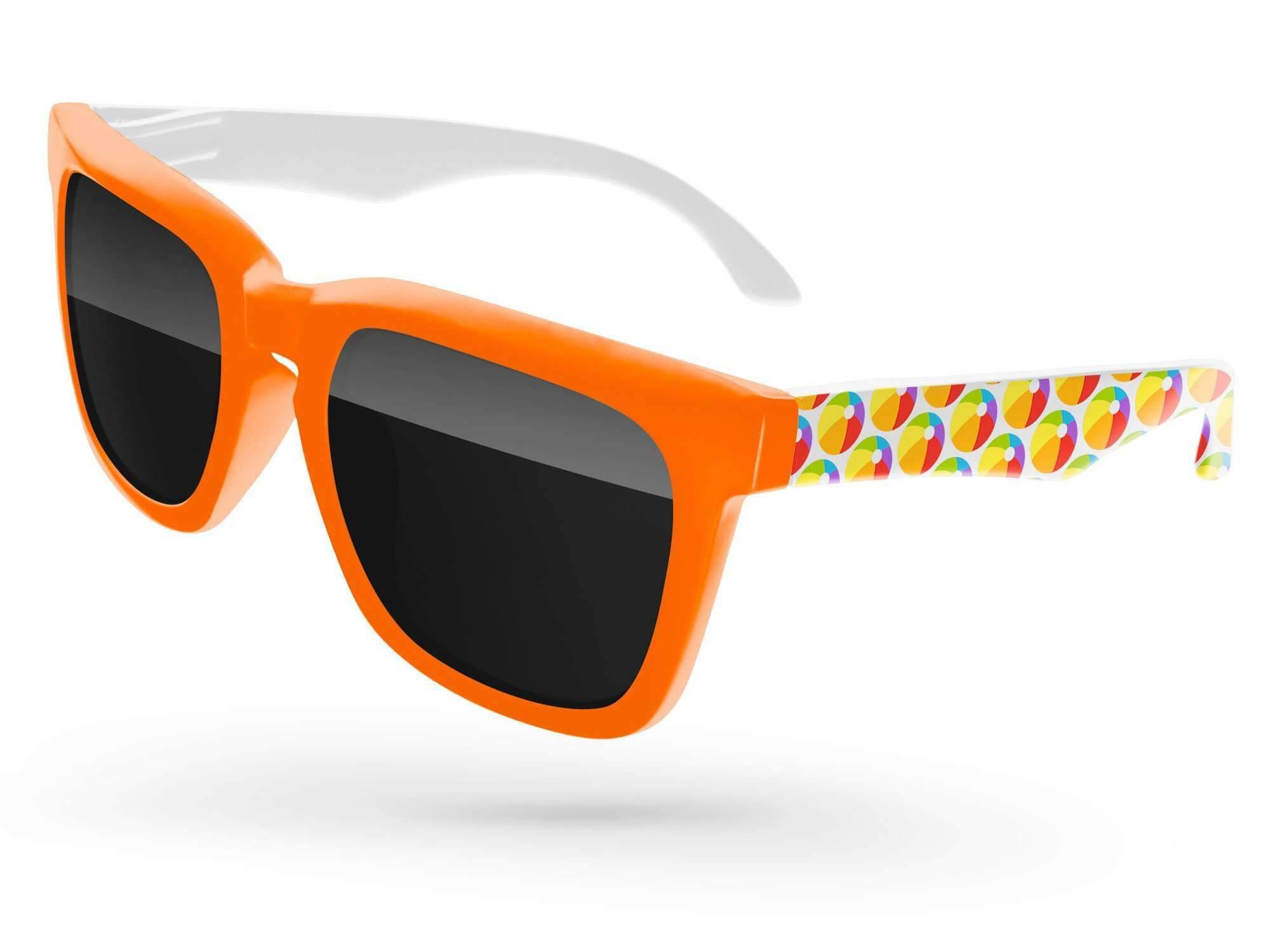 BD052 - 2-tone Bold Promotional Sunglasses w/ arms heat transfer