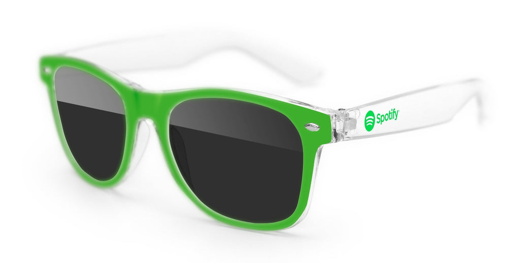2-tone Clear Retro Promotional Sunglasses w/ 1-color temple imprint